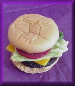 Wax Fake Hamburger with Set of Buns, Burger, Cheese, onion, pickles, Tomato and Lettuce