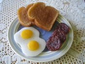 Wax Breakfast, Fake eggs cooked sausage links and toast