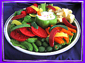 Wax Vegetable Plate Fixings with Bell Pepper Bowl (empty), Celery, Carrots, Tomato Cauliflower, Olives, Broccoli, Lettuce, Pickles & Bell Pepper Slices