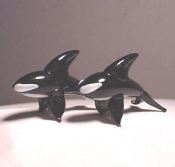 Two Glass Killer Whales Miniature Collectibles