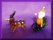 Santa in Sleigh w/Reindeer glass