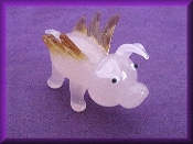 Glass Pigs with Wings Miniature Ornament