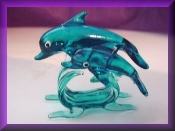 Dolphin Pair on Wave glass Miniature Collectible