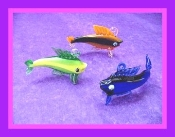 Curved Colorful Fish with Hook Glass Miniature