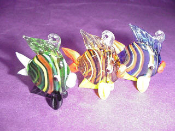 Striped Fish with Lips Glass Miniature Embed