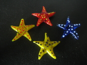 Starfish  Glass Embeds Collectibles Set of 6 Assorted Colors