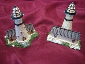 Two Miniature Resin Light Houses