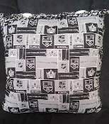 "LA KINGS Pillow, Fabric and Crochet, 18"" x 18"""